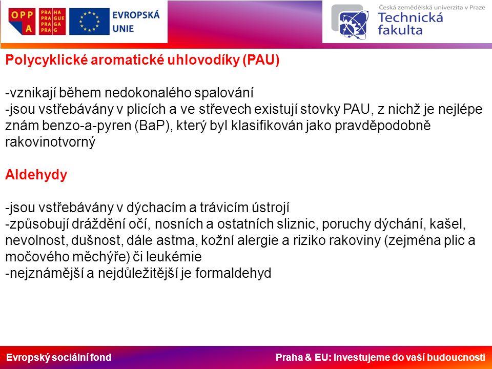 Evropský sociální fond Praha & EU: Investujeme do vaší budoucnosti Polycyklické aromatické uhlovodíky (PAU) -vznikají během nedokonalého spalování -jsou vstřebávány v plicích a ve střevech existují stovky PAU, z nichž je nejlépe znám benzo-a-pyren (BaP), který byl klasifikován jako pravděpodobně rakovinotvorný Aldehydy -jsou vstřebávány v dýchacím a trávicím ústrojí -způsobují dráždění očí, nosních a ostatních sliznic, poruchy dýchání, kašel, nevolnost, dušnost, dále astma, kožní alergie a riziko rakoviny (zejména plic a močového měchýře) či leukémie -nejznámější a nejdůležitější je formaldehyd