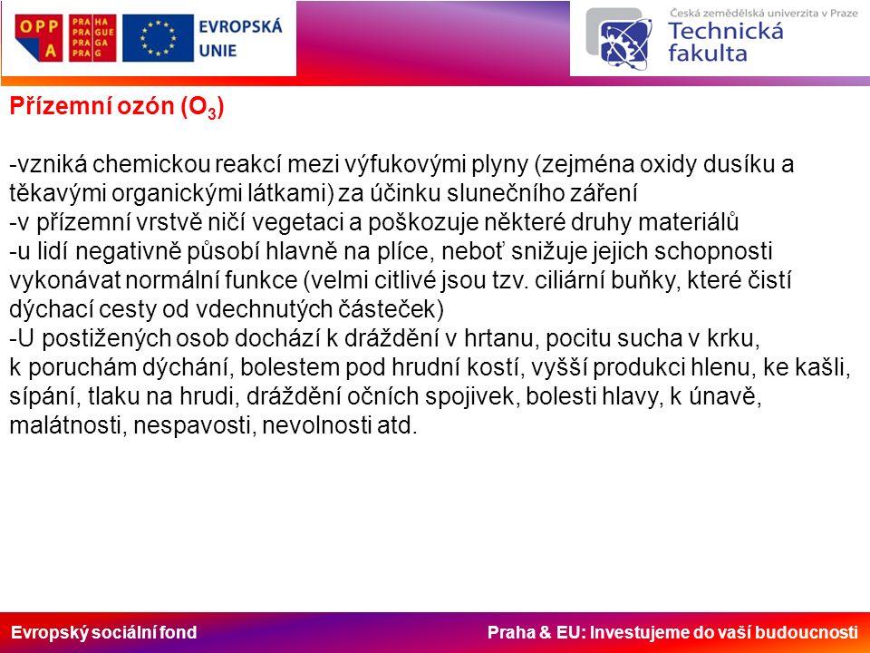 Evropský sociální fond Praha & EU: Investujeme do vaší budoucnosti Přízemní ozón (O 3 ) -vzniká chemickou reakcí mezi výfukovými plyny (zejména oxidy dusíku a těkavými organickými látkami) za účinku slunečního záření -v přízemní vrstvě ničí vegetaci a poškozuje některé druhy materiálů -u lidí negativně působí hlavně na plíce, neboť snižuje jejich schopnosti vykonávat normální funkce (velmi citlivé jsou tzv.