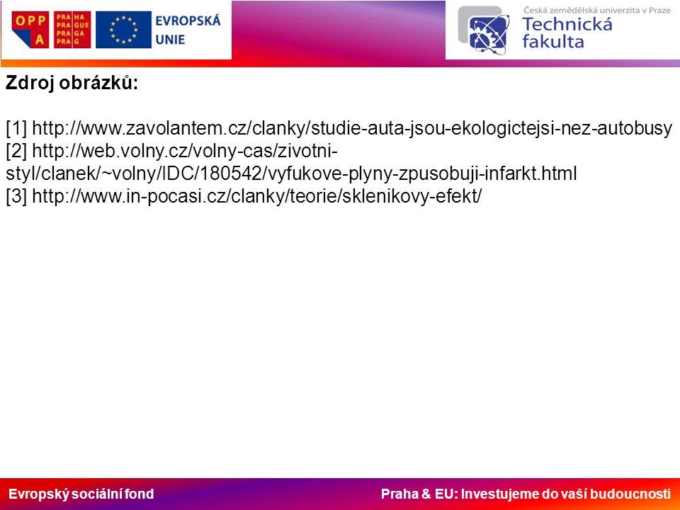 Zdroj obrázků: [1] http://www.zavolantem.cz/clanky/studie-auta-jsou-ekologictejsi-nez-autobusy [2] http://web.volny.cz/volny-cas/zivotni- styl/clanek/~volny/IDC/180542/vyfukove-plyny-zpusobuji-infarkt.html [3] http://www.in-pocasi.cz/clanky/teorie/sklenikovy-efekt/