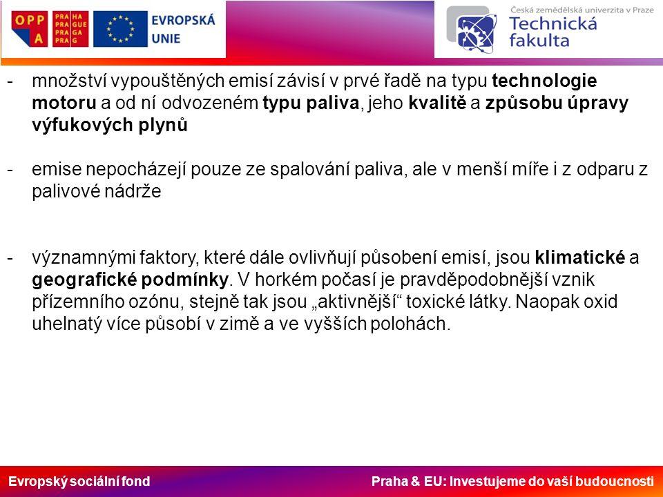 Evropský sociální fond Praha & EU: Investujeme do vaší budoucnosti -množství vypouštěných emisí závisí v prvé řadě na typu technologie motoru a od ní