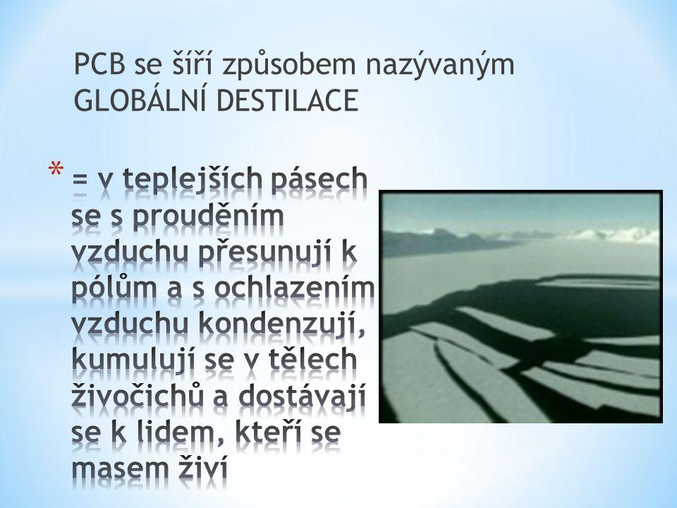 PCB se šíří způsobem nazývaným GLOBÁLNÍ DESTILACE