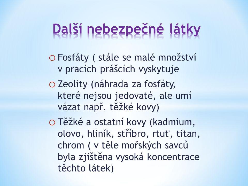 o Fosfáty ( stále se malé množství v pracích prášcích vyskytuje o Zeolity (náhrada za fosfáty, které nejsou jedovaté, ale umí vázat např.