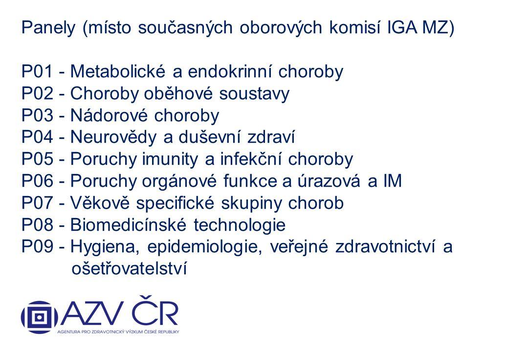 Panely (místo současných oborových komisí IGA MZ) P01 - Metabolické a endokrinní choroby P02 - Choroby oběhové soustavy P03 - Nádorové choroby P04 - Neurovědy a duševní zdraví P05 - Poruchy imunity a infekční choroby P06 - Poruchy orgánové funkce a úrazová a IM P07 - Věkově specifické skupiny chorob P08 - Biomedicínské technologie P09 - Hygiena, epidemiologie, veřejné zdravotnictví a ošetřovatelství