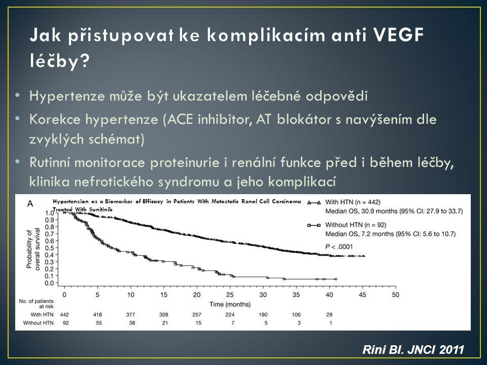 Hypertenze může být ukazatelem léčebné odpovědi Korekce hypertenze (ACE inhibitor, AT blokátor s navýšením dle zvyklých schémat) Rutinní monitorace proteinurie i renální funkce před i během léčby, klinika nefrotického syndromu a jeho komplikací Rini BI.