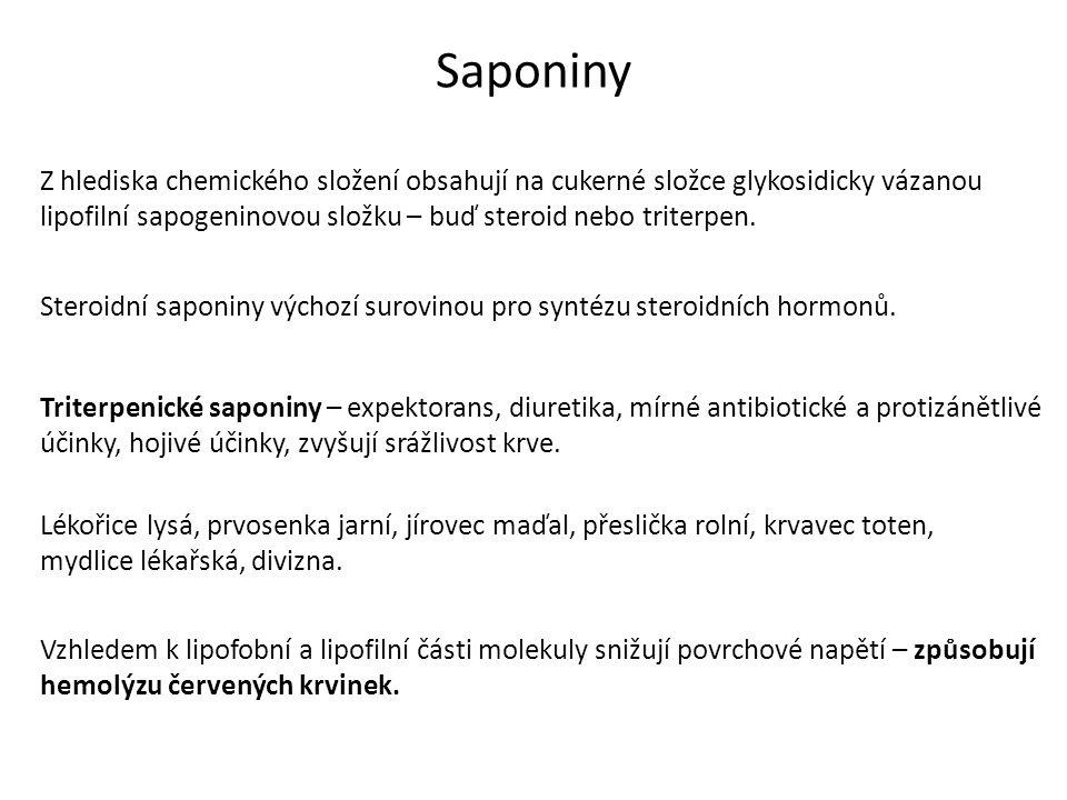 Saponiny Z hlediska chemického složení obsahují na cukerné složce glykosidicky vázanou lipofilní sapogeninovou složku – buď steroid nebo triterpen.