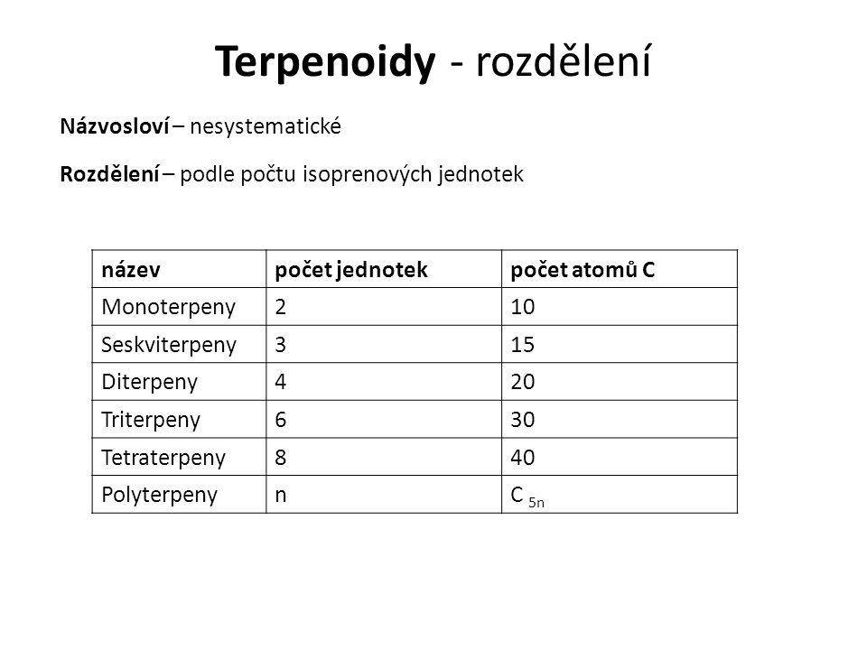 Terpenoidy - rozdělení Názvosloví – nesystematické názevpočet jednotekpočet atomů C Monoterpeny210 Seskviterpeny315 Diterpeny420 Triterpeny630 Tetraterpeny840 PolyterpenynC 5n Rozdělení – podle počtu isoprenových jednotek