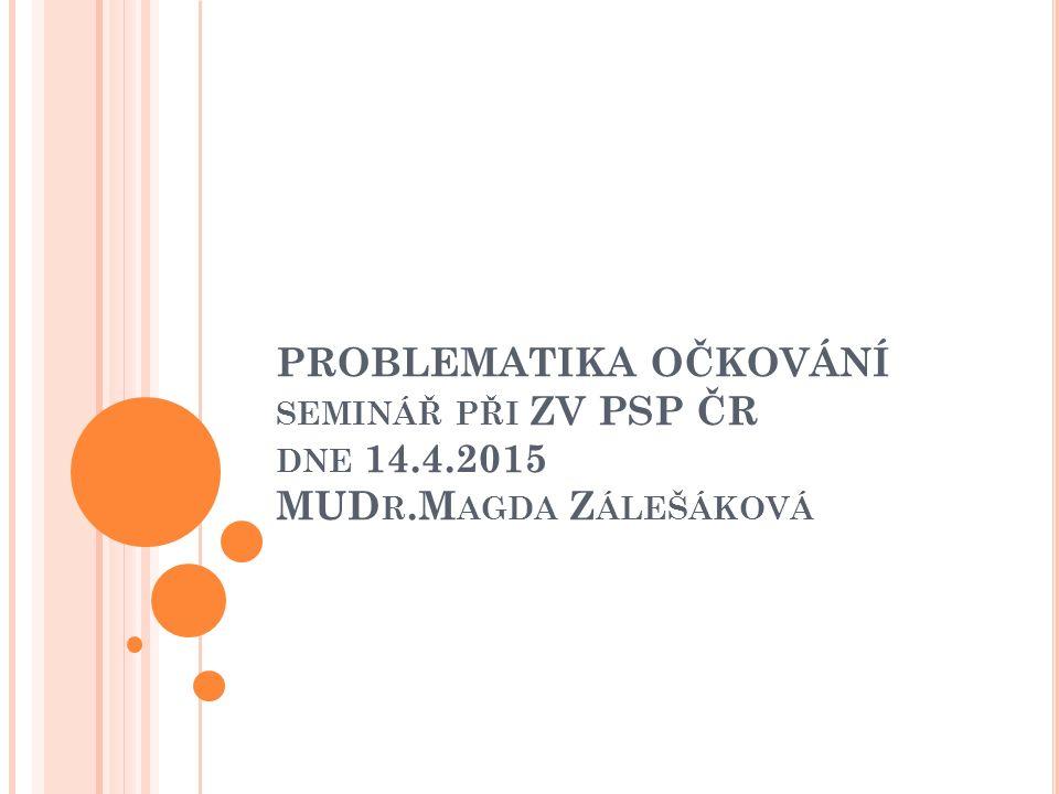 PROBLEMATIKA OČKOVÁNÍ SEMINÁŘ PŘI ZV PSP ČR DNE 14.4.2015 MUD R.M AGDA Z ÁLEŠÁKOVÁ
