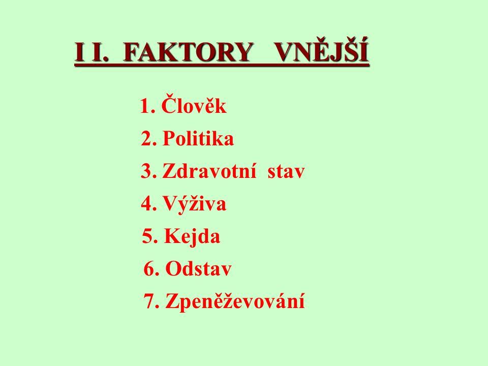 I I. FAKTORY VNĚJŠÍ 1. Člověk 2. Politika 3. Zdravotní stav 4.