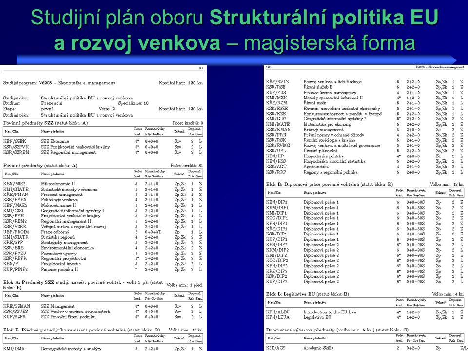 Studijní plán oboru Strukturální politika EU a rozvoj venkova – magisterská forma