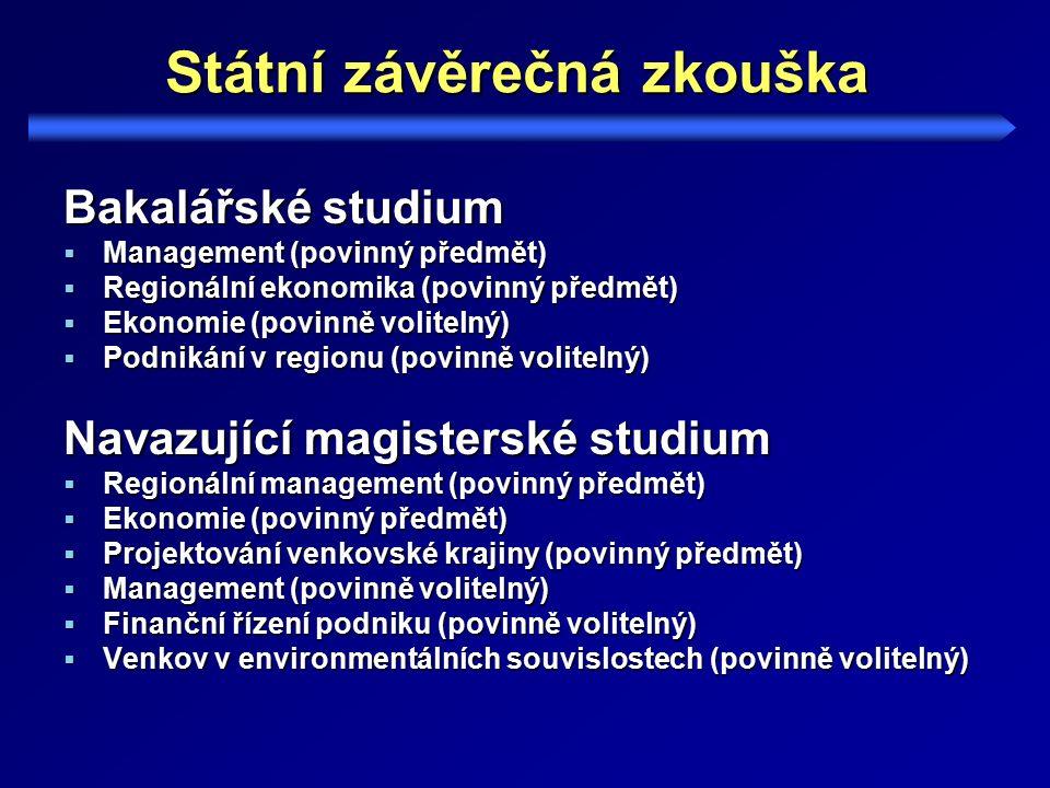 Státní závěrečná zkouška Bakalářské studium  Management (povinný předmět)  Regionální ekonomika (povinný předmět)  Ekonomie (povinně volitelný)  Podnikání v regionu (povinně volitelný) Navazující magisterské studium  Regionální management (povinný předmět)  Ekonomie (povinný předmět)  Projektování venkovské krajiny (povinný předmět)  Management (povinně volitelný)  Finanční řízení podniku (povinně volitelný)  Venkov v environmentálních souvislostech (povinně volitelný)
