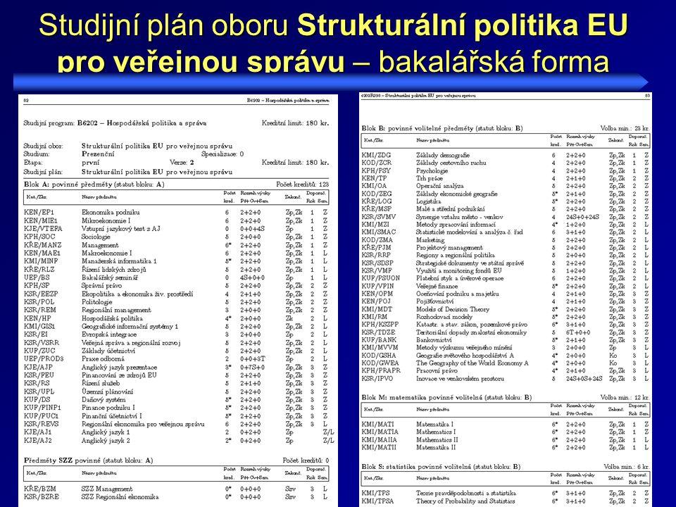 Studijní plán oboru Strukturální politika EU pro veřejnou správu – bakalářská forma