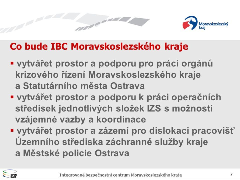 Jednotný vizuální styl MSK Kdy bude IBC Moravskoslezského kraje 8 Integrované bezpečnostní centrum Moravskoslezského kraje  2005 – 2006 projekt stavební a technologické části IBC  2008 – 2010 rekonstrukce objektu META a stavba IBC  2009 – 2010 instalace technologií IBC  2010 uvedení IBC do zkušebního provozu  2011 uvedení IBC do ostrého provozu