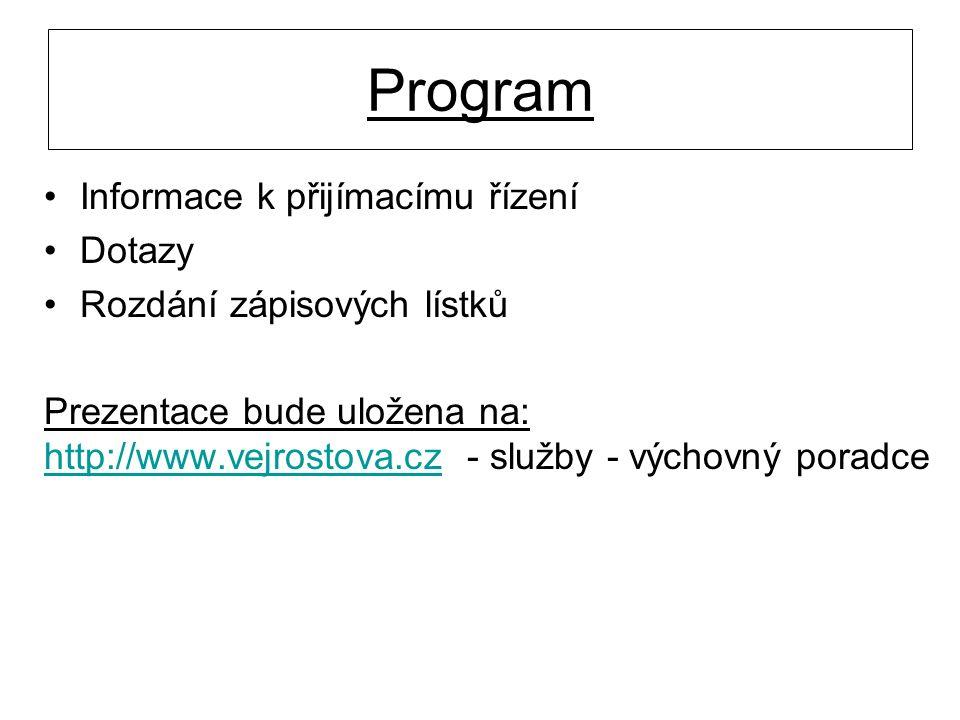 Program Informace k přijímacímu řízení Dotazy Rozdání zápisových lístků Prezentace bude uložena na: http://www.vejrostova.cz - služby - výchovný porad