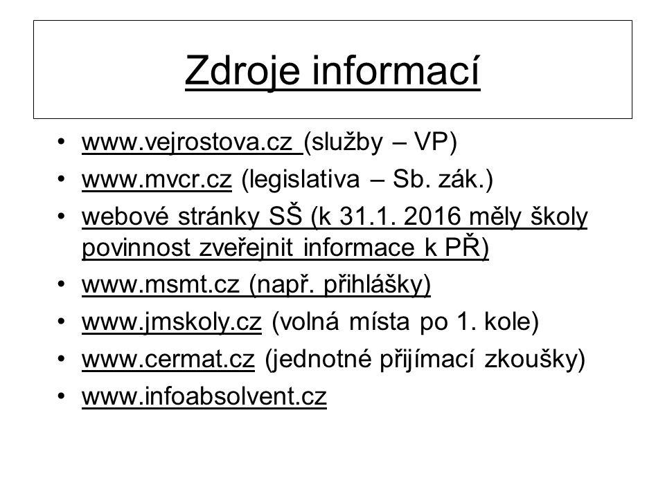 Zdroje informací www.vejrostova.cz (služby – VP) www.mvcr.cz (legislativa – Sb. zák.) webové stránky SŠ (k 31.1. 2016 měly školy povinnost zveřejnit i