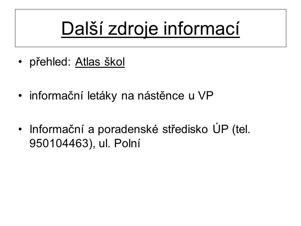 Další zdroje informací přehled: Atlas škol informační letáky na nástěnce u VP Informační a poradenské středisko ÚP (tel. 950104463), ul. Polní