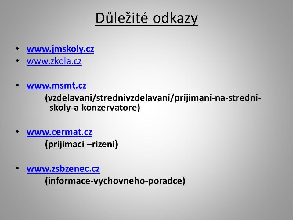 Důležité odkazy www.jmskoly.cz www.zkola.cz www.msmt.cz (vzdelavani/strednivzdelavani/prijimani-na-stredni- skoly-a konzervatore) www.cermat.cz (prijimaci –rizeni) www.zsbzenec.cz (informace-vychovneho-poradce)