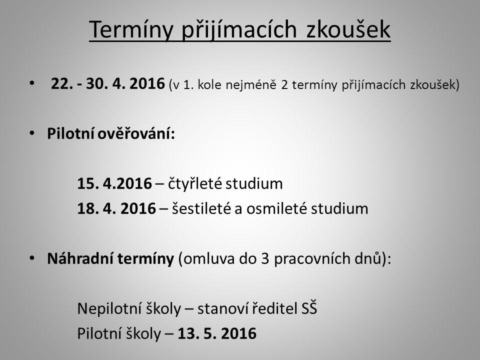 Termíny přijímacích zkoušek 22. - 30. 4. 2016 (v 1.
