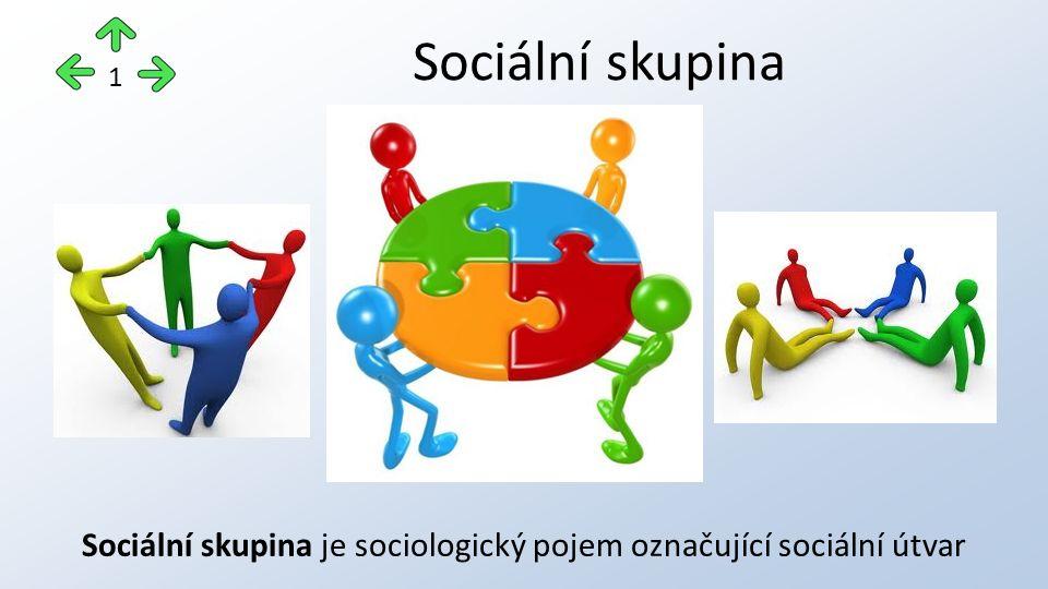 je specifickým sociálním útvarem je vytvářena různým počtem jedinců a vždy určitým způsobem tak, že jedinci k sobě patří nebo jsou přiřazováni je souborem jedinců, kteří se odlišují podle nějakého znaku od jiných Sociální skupina 2
