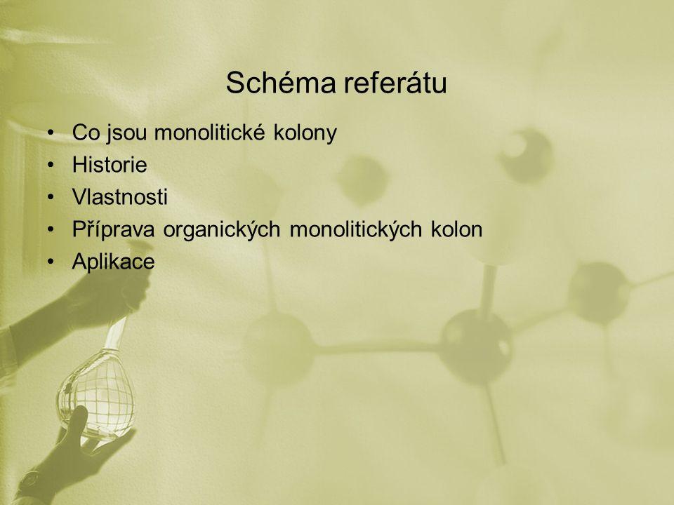 Schéma referátu Co jsou monolitické kolony Historie Vlastnosti Příprava organických monolitických kolon Aplikace