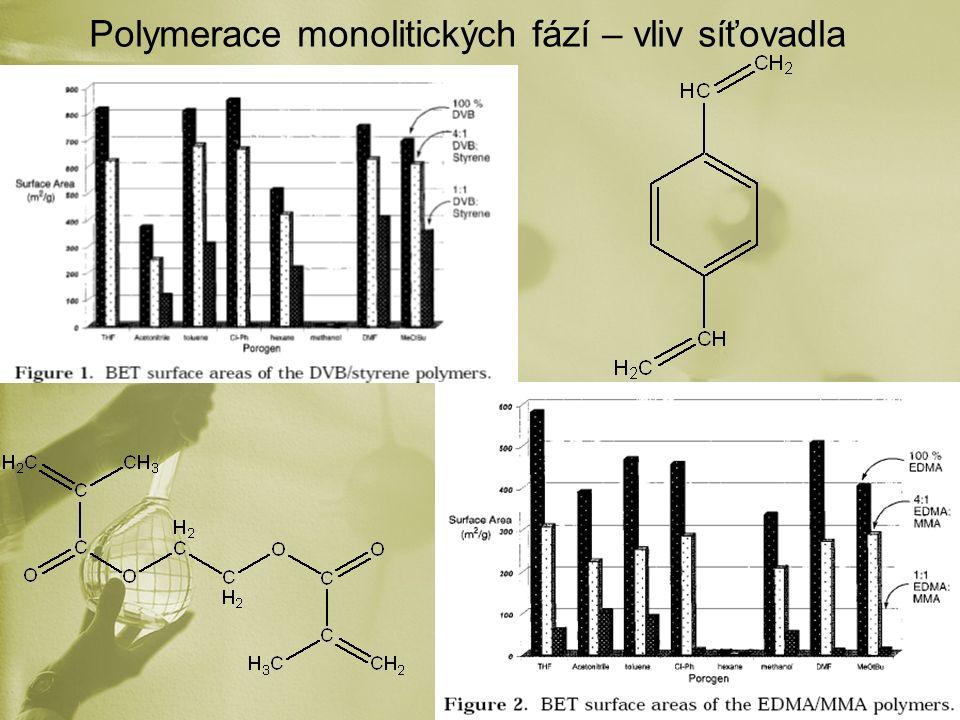 Polymerace monolitických fází – vliv síťovadla