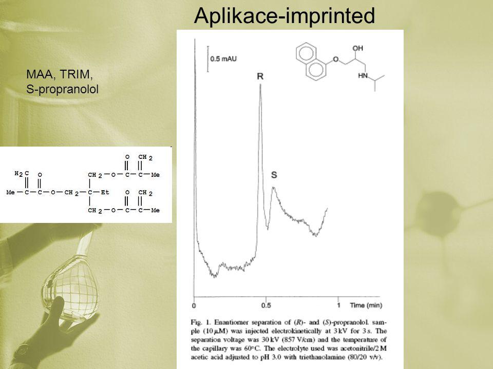 Aplikace-imprinted MAA, TRIM, S-propranolol