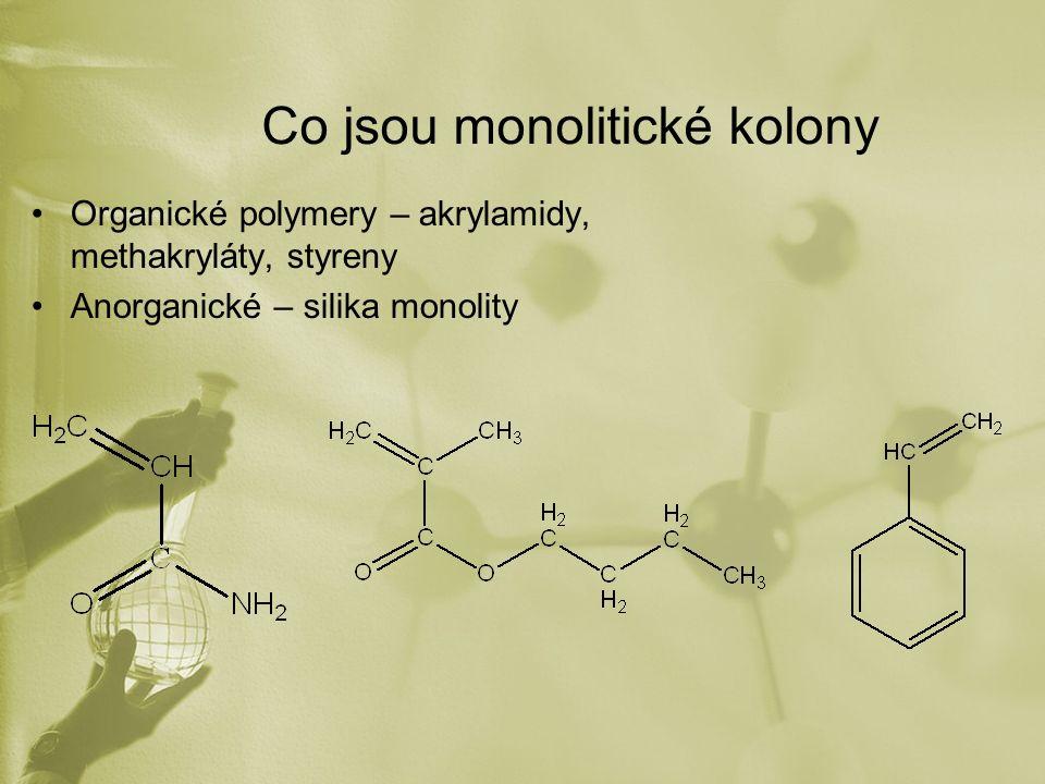 Co jsou monolitické kolony Organické polymery – akrylamidy, methakryláty, styreny Anorganické – silika monolity