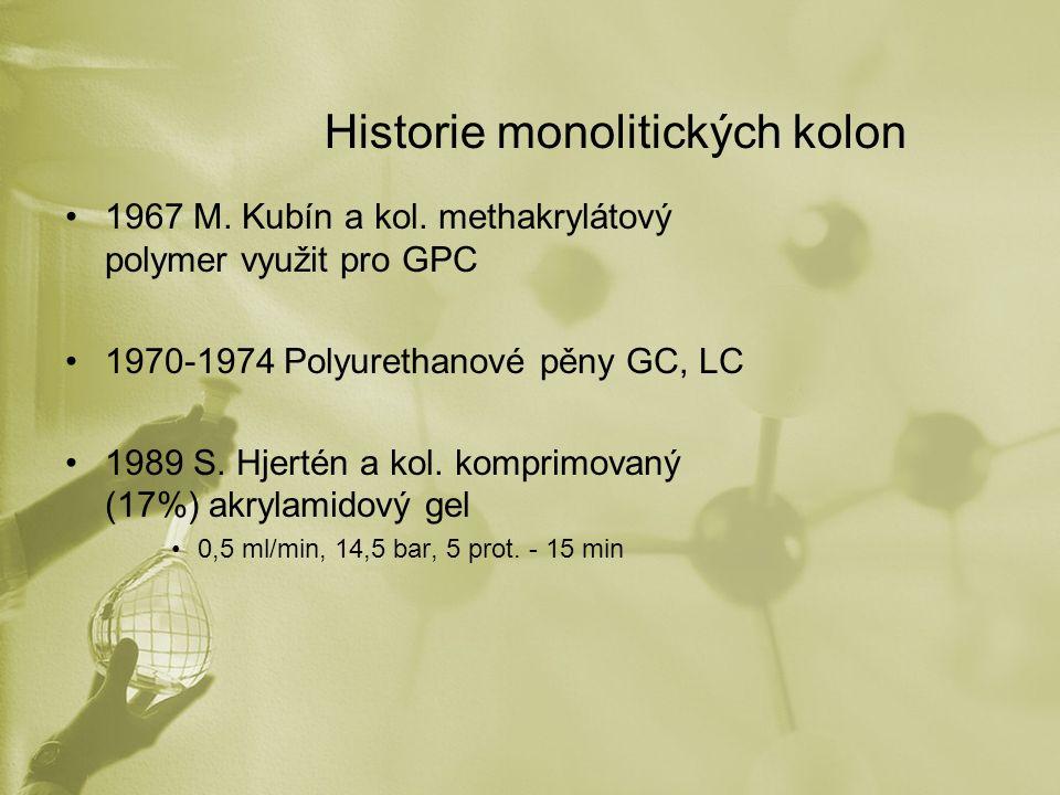 Historie monolitických kolon 1967 M. Kubín a kol. methakrylátový polymer využit pro GPC 1970-1974 Polyurethanové pěny GC, LC 1989 S. Hjertén a kol. ko