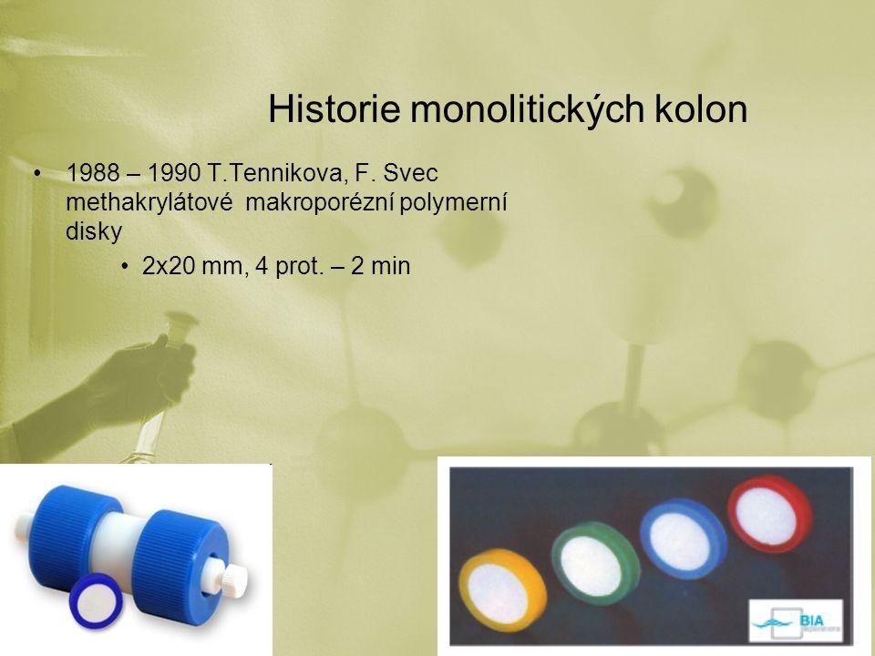 Historie monolitických kolon 1988 – 1990 T.Tennikova, F. Svec methakrylátové makroporézní polymerní disky 2x20 mm, 4 prot. – 2 min