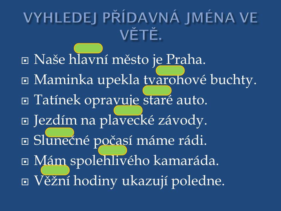  Naše hlavní město je Praha.  Maminka upekla tvarohové buchty.  Tatínek opravuje staré auto.  Jezdím na plavecké závody.  Slunečné počasí máme rá
