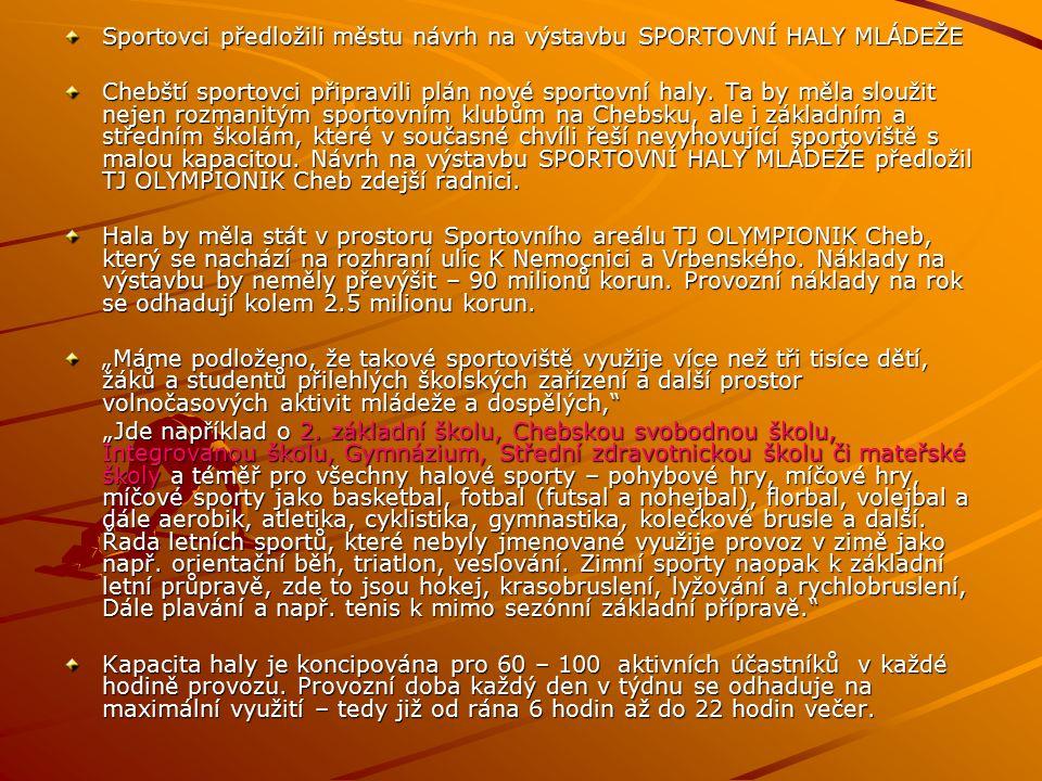 Sportovci předložili městu návrh na výstavbu SPORTOVNÍ HALY MLÁDEŽE Chebští sportovci připravili plán nové sportovní haly.