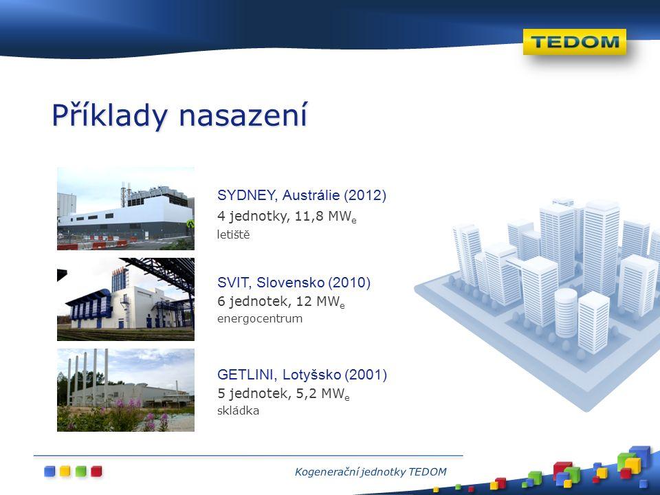 SVIT, Slovensko (2010) 6 jednotek, 12 MW e energocentrum GETLINI, Lotyšsko (2001) 5 jednotek, 5,2 MW e skládka SYDNEY, Austrálie (2012) 4 jednotky, 11