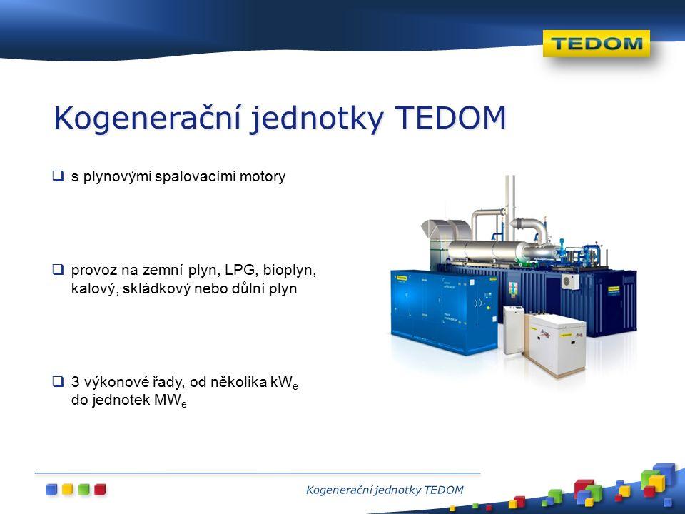  s plynovými spalovacími motory  provoz na zemní plyn, LPG, bioplyn, kalový, skládkový nebo důlní plyn  3 výkonové řady, od několika kW e do jednotek MW e Kogenerační jednotky TEDOM