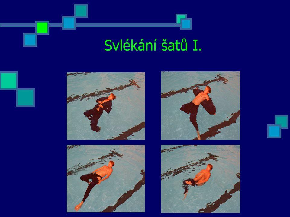 """Příklady cvičení Skoky do vody využívané v záchraně tonoucích - nácvik výše uvedených skoků na hloubce - nácvik výše uvedených skoků na mělčině důraz klademe na výuku kročného způsobu skoku - nácvik akce: skok – dopad – zahájení plavání - nácvik akce: skok – dopad – zahájení plavání s důrazem na vizuální kontakt s """"tonoucím - do výuky zařadíme hlasité upozornění zachránce – při skoku křičí """"Pomoc topí se! Plavání ve ztížených podmínkách - nácvik a zdokonalení jednotlivých dovedností při zajištění maximální bezpečnost - štafetové závody družstev Dopomoc unavenému plavci - jednotlivé způsoby dopomoci unavenému plavci - plavání kratších úseků (do 25 metrů) s důrazem na správnost provedení - jednotlivé způsoby dopomoci unavenému plavci - plavání delších úseků (100 a více metrů) s důrazem na stálost pohybové struktury a vytrvalost - zařazení štafet s důrazem na správnost provedení"""