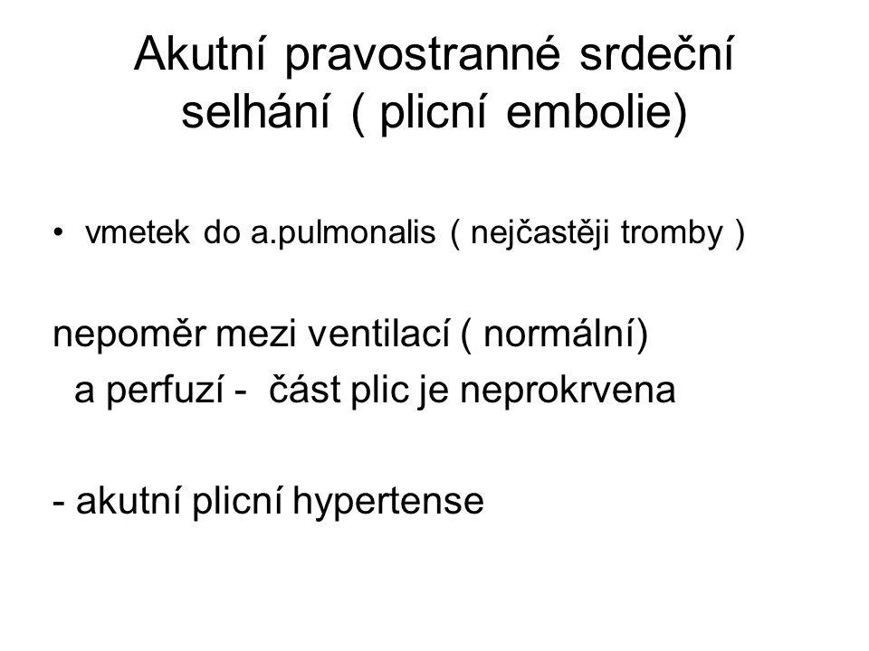 Akutní pravostranné srdeční selhání ( plicní embolie) vmetek do a.pulmonalis ( nejčastěji tromby ) nepoměr mezi ventilací ( normální) a perfuzí - část plic je neprokrvena - akutní plicní hypertense