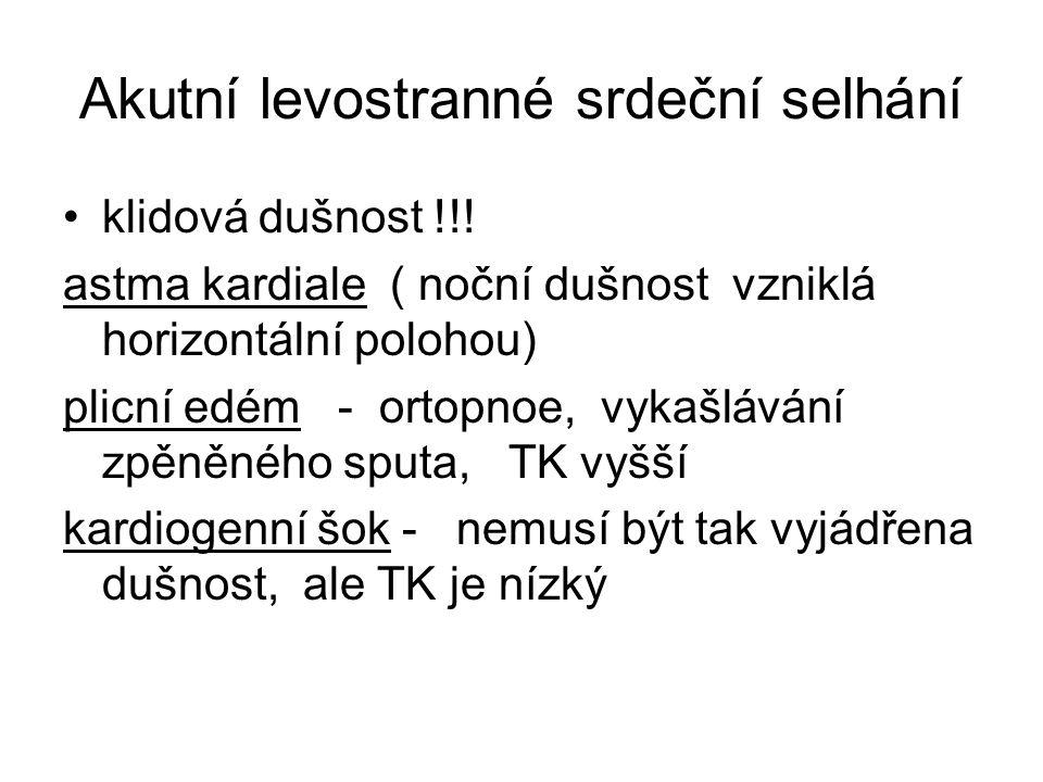 Akutní levostranné srdeční selhání klidová dušnost !!.