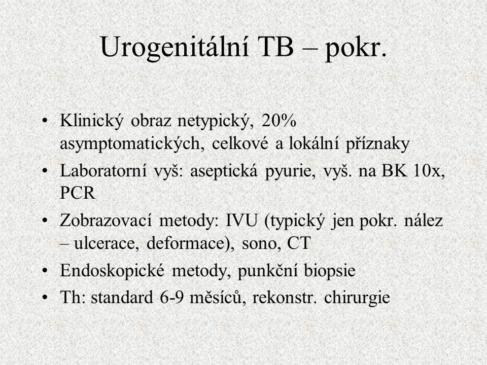 Urogenitální TB – pokr.