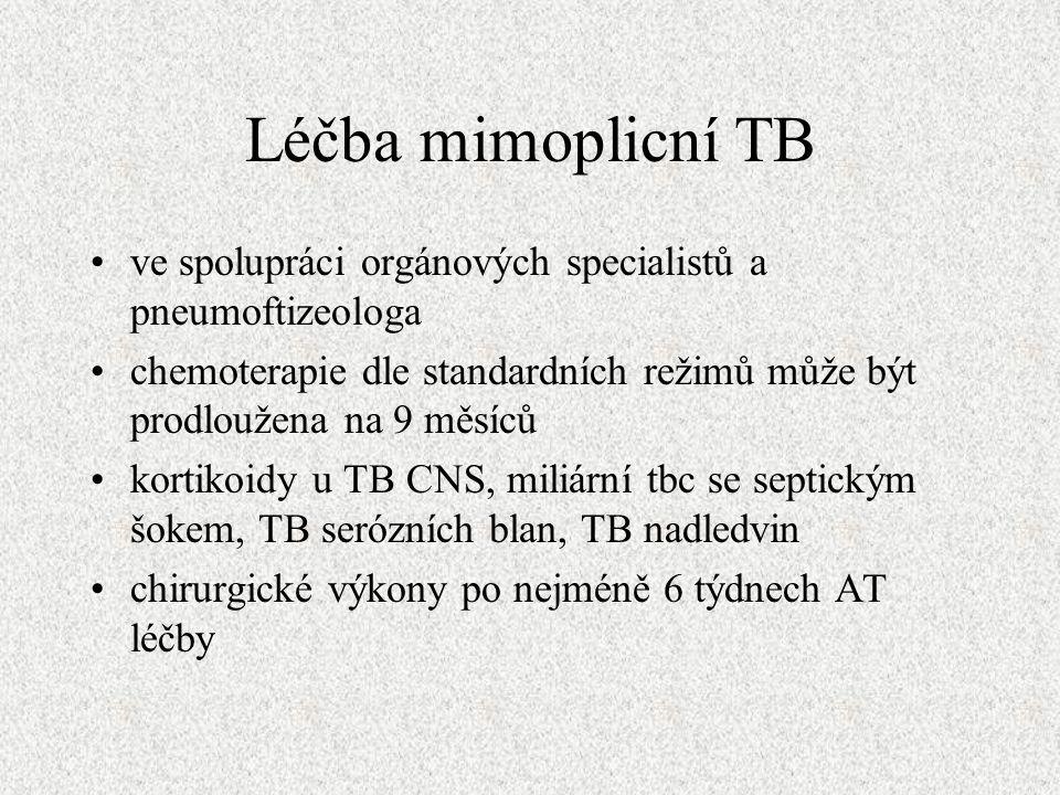 Léčba mimoplicní TB ve spolupráci orgánových specialistů a pneumoftizeologa chemoterapie dle standardních režimů může být prodloužena na 9 měsíců kortikoidy u TB CNS, miliární tbc se septickým šokem, TB serózních blan, TB nadledvin chirurgické výkony po nejméně 6 týdnech AT léčby