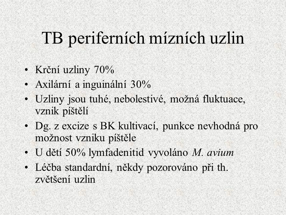 TB periferních mízních uzlin Krční uzliny 70% Axilární a inguinální 30% Uzliny jsou tuhé, nebolestivé, možná fluktuace, vznik píštělí Dg.