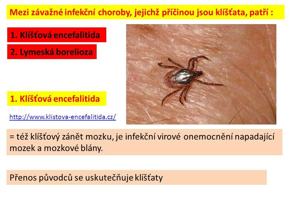 = též klíšťový zánět mozku, je infekční virové onemocnění napadající mozek a mozkové blány. http://www.klistova-encefalitida.cz/ 1. Klíšťová encefalit