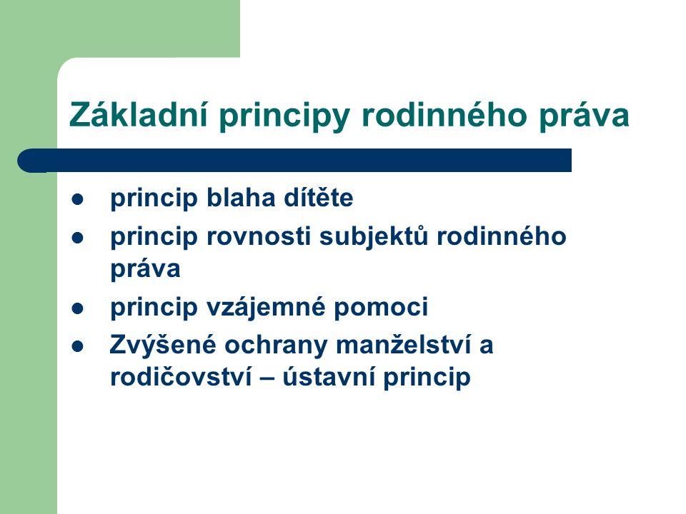 Základní principy rodinného práva princip blaha dítěte princip rovnosti subjektů rodinného práva princip vzájemné pomoci Zvýšené ochrany manželství a