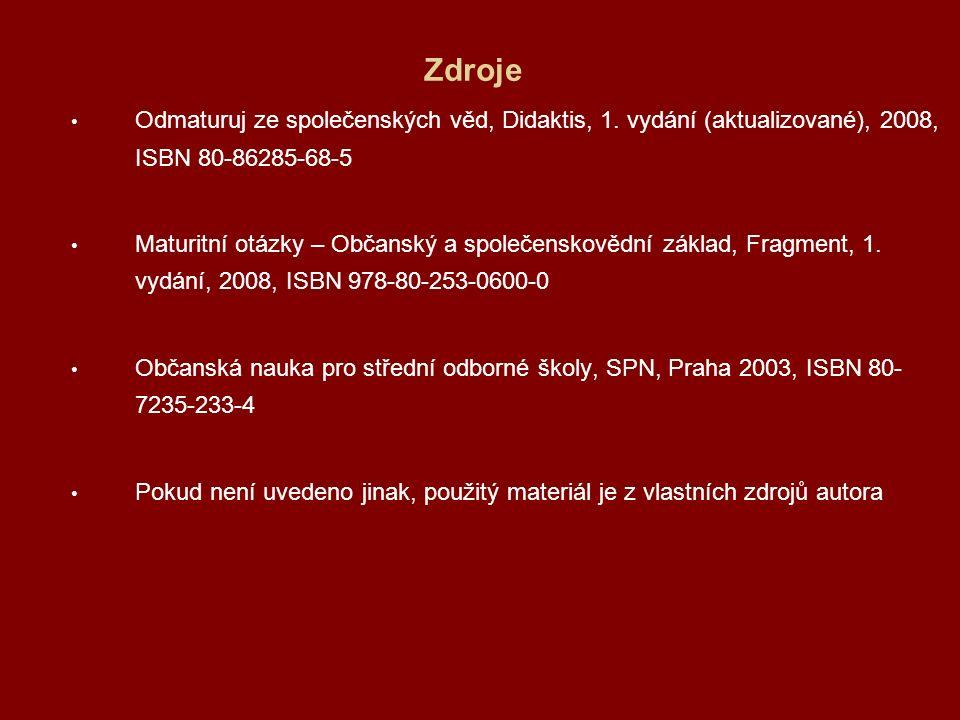 Zdroje Odmaturuj ze společenských věd, Didaktis, 1. vydání (aktualizované), 2008, ISBN 80-86285-68-5 Maturitní otázky – Občanský a společenskovědní zá