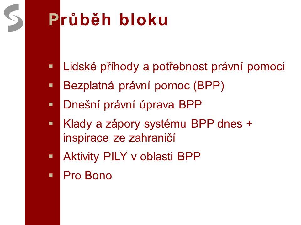 Průběh bloku  Lidské příhody a potřebnost právní pomoci  Bezplatná právní pomoc (BPP)  Dnešní právní úprava BPP  Klady a zápory systému BPP dnes + inspirace ze zahraničí  Aktivity PILY v oblasti BPP  Pro Bono