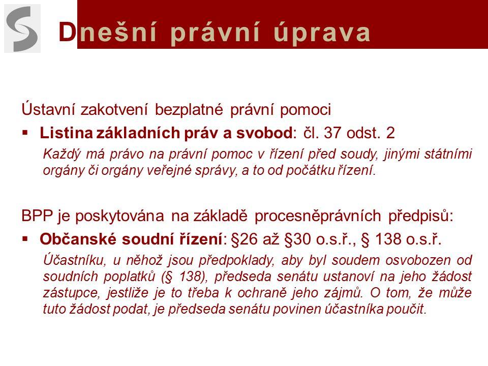 Dnešní právní úprava Ústavní zakotvení bezplatné právní pomoci  Listina základních práv a svobod: čl.