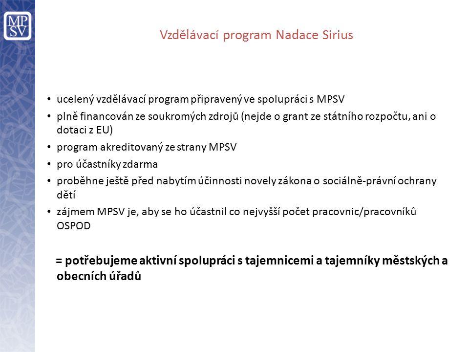 Vzdělávací program Nadace Sirius ucelený vzdělávací program připravený ve spolupráci s MPSV plně financován ze soukromých zdrojů (nejde o grant ze státního rozpočtu, ani o dotaci z EU) program akreditovaný ze strany MPSV pro účastníky zdarma proběhne ještě před nabytím účinnosti novely zákona o sociálně-právní ochrany dětí zájmem MPSV je, aby se ho účastnil co nejvyšší počet pracovnic/pracovníků OSPOD = potřebujeme aktivní spolupráci s tajemnicemi a tajemníky městských a obecních úřadů