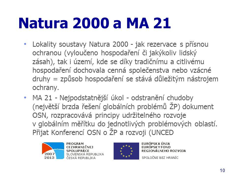 Natura 2000 a MA 21 Lokality soustavy Natura 2000 - jak rezervace s přísnou ochranou (vyloučeno hospodaření či jakýkoliv lidský zásah), tak i území, kde se díky tradičnímu a citlivému hospodaření dochovala cenná společenstva nebo vzácné druhy = způsob hospodaření se stává důležitým nástrojem ochrany.