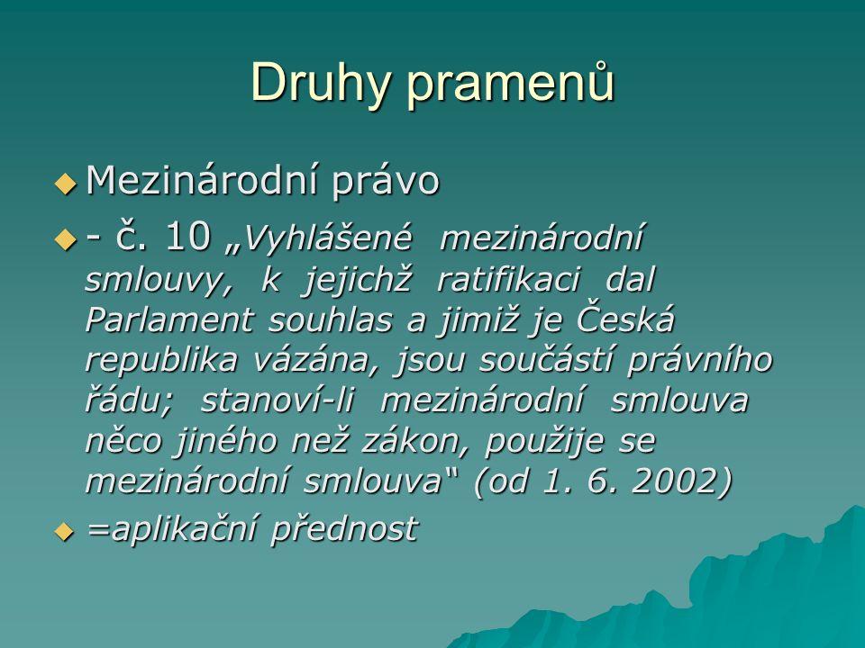 Druhy pramenů  Mezinárodní právo  - č.