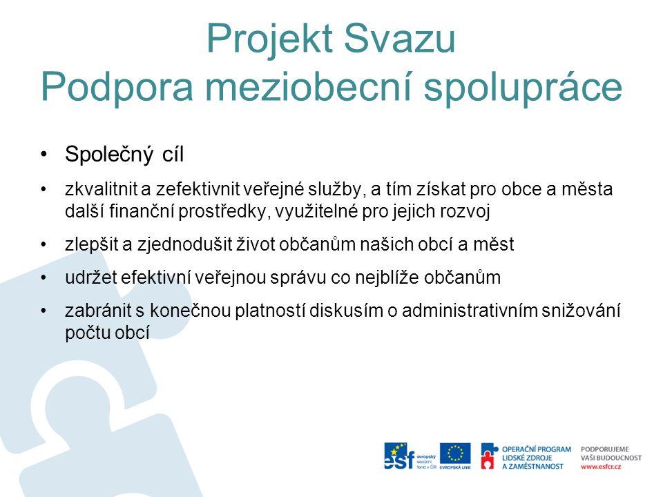 Projekt Svazu Podpora meziobecní spolupráce pilotní Projekt je hrazený plně ze zdrojů OP LZZ doba trvání 1.