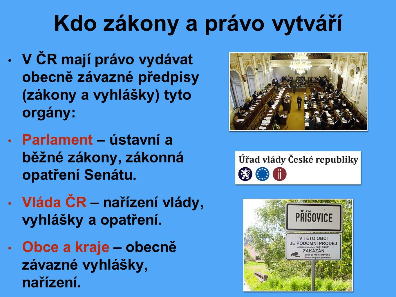 Kdo zákony a právo vytváří V ČR mají právo vydávat obecně závazné předpisy (zákony a vyhlášky) tyto orgány: Parlament – ústavní a běžné zákony, zákonná opatření Senátu.
