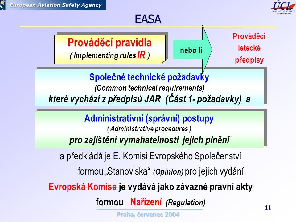 Praha, červenec 2004 11 Prováděcí pravidla ( Implementing rules IR ) Prováděcí pravidla ( Implementing rules IR ) Společné technické požadavky (Common technical requirements) které vychází z předpisů JAR (Část 1- požadavky) a Společné technické požadavky (Common technical requirements) které vychází z předpisů JAR (Část 1- požadavky) a Administrativní (správní) postupy ( Administrative procedures ) pro zajištění vymahatelnosti jejich plnění Administrativní (správní) postupy ( Administrative procedures ) pro zajištění vymahatelnosti jejich plnění a předkládá je E.