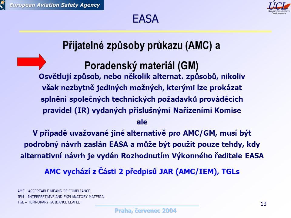 Praha, červenec 2004 13 Přijatelné způsoby průkazu (AMC) a Poradenský materiál (GM) Osvětlují způsob, nebo několik alternat.